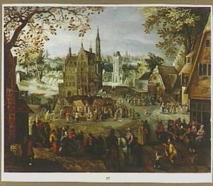 Dorpsgezicht met feestende boeren en markt, op de achtergrond het stadhuis van Oudenaarde
