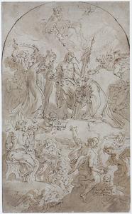Heilige in de hemel met de Drie-eenheid en Maria