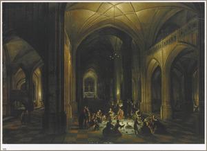 Kerkinterieur met de Baalpriesters en hun familieleden, die zich 's nachts tegoed doen aan de offerspijzen (Daniël 14:13-21)