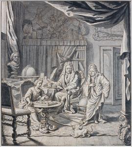 Portret van een naturalieënverzamelaar of geleerde met zijn echtgenote (?) en een staande man
