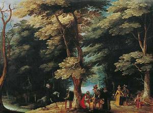 Boslandschap met elegante figuren en oosterse handelaars