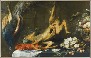 Stilleven met jachtbuit, kreeft, oesters en fruit
