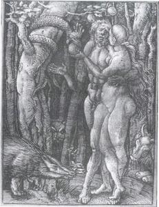 De zondeval: Adam tracht Eva te weerhouden de appel te plukken (Genesis 3:6)
