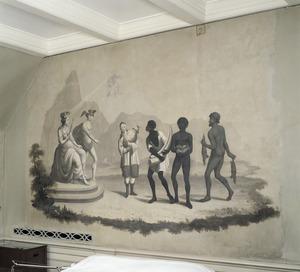 Een Chinees, een Afrikaan met slagtanden van een Afrikaanse Olifant, een Afrikaan met vruchten en een Aziaat met twee jonge varanen (?) bieden handelswaar aan aan Mercurius en personificatie van de koloniale macht