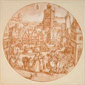 De maand Januari; geïnspireerd op de Grote Markt van Bergen op Zoom met de Grote Kerk en de toren van de Lakenhal