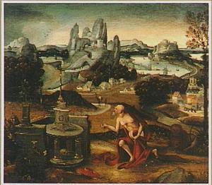 Berglandschap met de boetvaardige H. Hieronymus in de wildernis