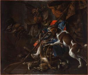 Stilleven van jachtbuit en jachtgerei met een dreigende kat en hond