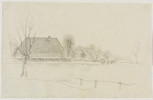 Winterlandschap te Eerbeek, links een knotwilg en een boerderij, rechts een paard en wagen