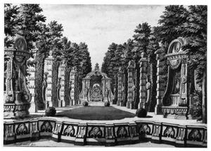 Parklandschap met terras en paviljoentje