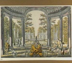 Tuin met classicistiche paviljoenen, vijver en fontein, met figuren