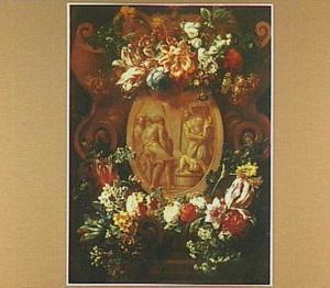 Met bloemen versierde cartouche rondom een reliëf met antieke offerscène