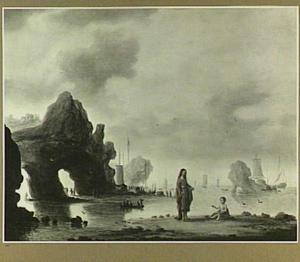 Kustlandschap met Augustinus en het kind aan het strand