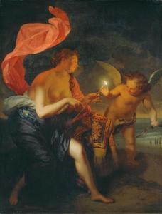 Venus overhandigt Amor een brandende pijl