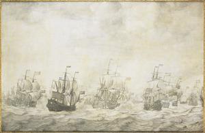 Episode uit de Vierdaagse Zeeslag, 11-14 juni 1666, in de Tweede Engelse Zeeoorlog (1665-1667); de eerste dag met o.a. de 'Hollandia', de 'Royal Prince', de 'Gouda', de 'Beschermer', de 'Zeven Provinciën' en de 'Swiftsure'