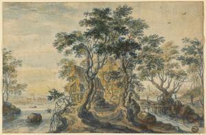 Rivierlandschap met bebouwing op een rotsachtig eiland