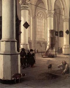 Interieur van de Nieuwe Kerk in Delft met een grafdelver