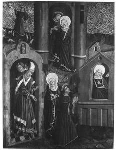 Joachims offer wordt door de hogepriester geweigerd, de verschijning van de engel aan Joachim, de verkondiging aan Anna, de ontmoeting van Joachim en Anna bij de Gouden Poort