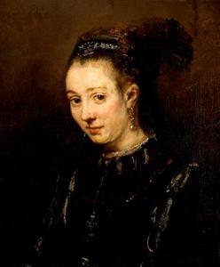 Halffiguur van een jonge vrouw in fantasiecostuum