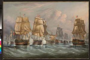 Slag om Trafalgar: H.M.S. Victory breekt door de Franse en Spaanse linies bij Gibraltar
