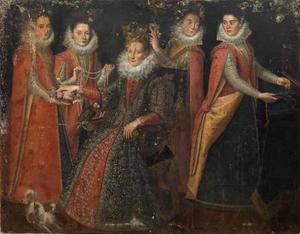Portret van vijf vrouwen met een hond en een papegaai