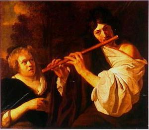Fluitspelende herder en zingende vrouw