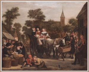Marktscène in een dorp