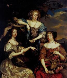 Groepsportret van de zusters Maria (1642-1688), Albertine Agnes (1634-1696) en Henriette Catharina (1637-1708) van Oranje-Nassau