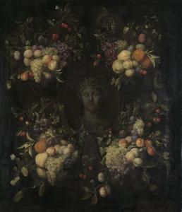 Vruchten rondom een gebeeldhouwde klassieke buste in een nis