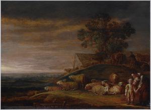 Landschap met een kudde schapen en een vrouw met een kind