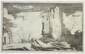 Kasteel Jaarsveld ofwel Veldenstein bij Lopik na de verwoesting door Franse troepen in 1673