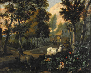 Zuidelijk parklandschap met geiten en wandelaars
