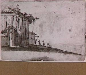 Rome, de zogenaamde Vestatempel (tempel van Hercules Victor) uit Rome in een fantasielandschap