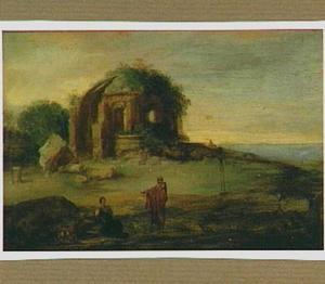 Zuidelijk landschap met ruïne; op de voorgrond de wegzending van Hagar en Ismaël (Genesis 21:18-21)