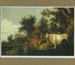 Landschap met herders en hun kudde