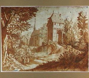 Dorpsgezicht met poortgebouw, kapel en figuren