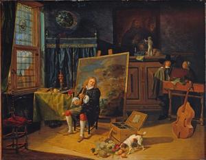 Musicerende schilder in zijn atelier