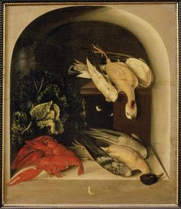 Trompe-l'oeil stilleven met kreeften en dood gevogelte in een nis