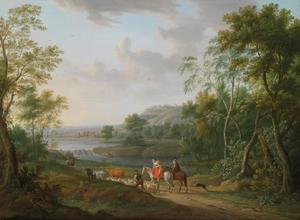Reizigers in een weids landschap
