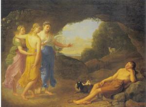 De droom van Daphnis, waarin nimfen de veilige terugkeer van Chloé voorspellen