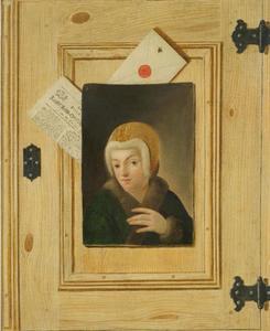 Trompe-l'oeil met vrouwenportret