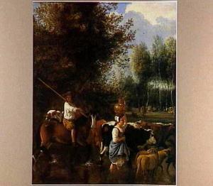 Landschap met door rivier wadende herders en hun kudde
