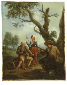 Oude man met glas wijn, een muzikant en een jonge vrouw met een spinstok