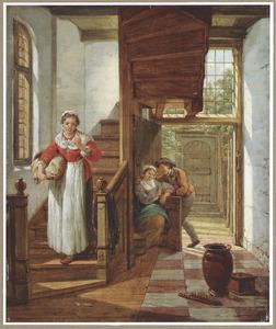Trappenhuis met een dienstmeid die een minnekozend paar afluistert; met een doorkijk naar een binnenplaats
