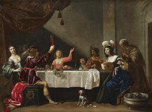 Elegant drinkend en musicerend gezelschap aan tafel in een interieur