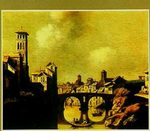 Gezicht op de Tiber in Rome; links het 'Isola Tiberina', en in het midden de Ponte Fabriccio (nu Ponte dei Quattro Capi), de oudste brug van Rome (gebouwd in het jaar 62 v. Chr.)
