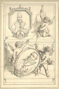 Portretten van Johan en Christian Friis in een decoratief kader