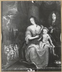 Portret  van Henriette Catharina van Oranje-Nassau (1637-1708) en Johann Georg II van Anhalt-Dessau (1627-1693) met hun zoon Leopold I (1676-1747)