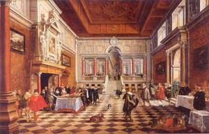 Frederick V, keurvorst van de Palts, koning van Bohemen (1596-1632) en Elizabeth Stuart (1596-1662) aan tafel in een gefantaseerde paleiszaal met toekijkend publiek