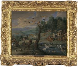 Dieren in het paradijs, Adam en Eva op de achtergrond (Genesis 2:8-25)