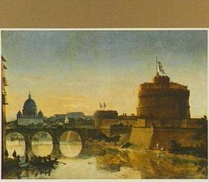 Rome, gezicht op de Tiber met Castel Sant'Angelo ofwel de Engelenburcht en de Ponte Sant'Angelo; op de achtergrond San Pietro en het Vaticaan